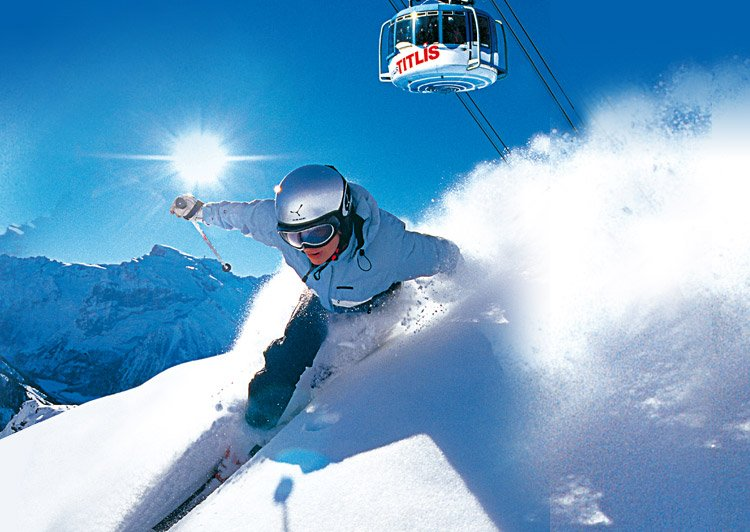 Vacations Exotica – A tourist skiing in Switzerland