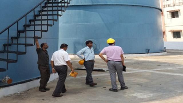 Rain water harvesting unit and separator hazardous waste storage area