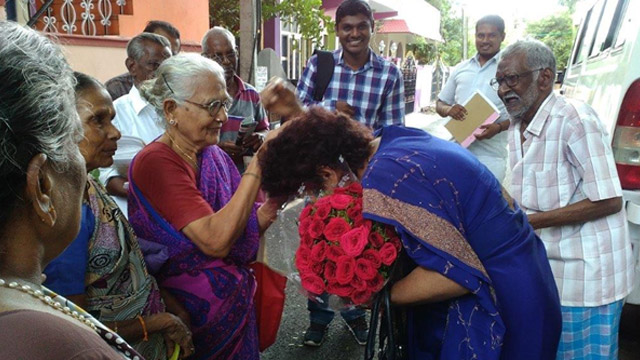 Ms. Manjusha Bhatnagar, Director [HR&CA] welcomed and blessed by Granie at Medical Mobile Unit in Chennai.
