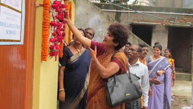 Director (HR&CA) inaugurating a toilet constructed by Balmer Lawrie