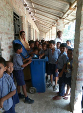 Use of dustbin by students